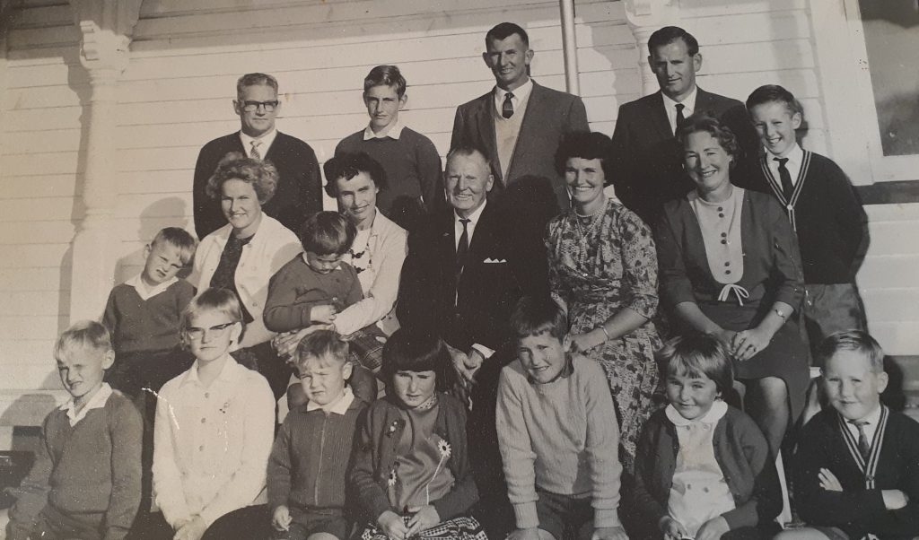 Black & white photo of the Dunbar family during a reunion in 1965