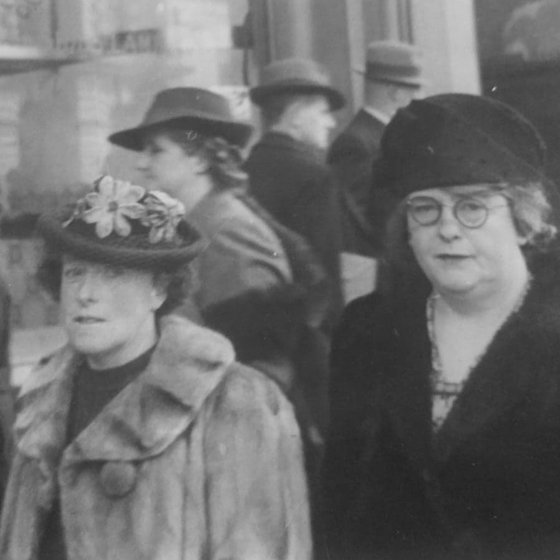 Black and white photo of Margaretta May Probert Botwoodand Sarah Elizabeth Probert May