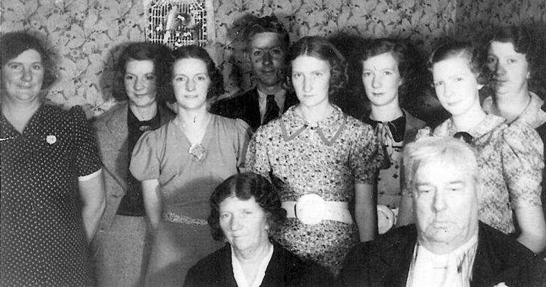 Black and white photo of the Ward family