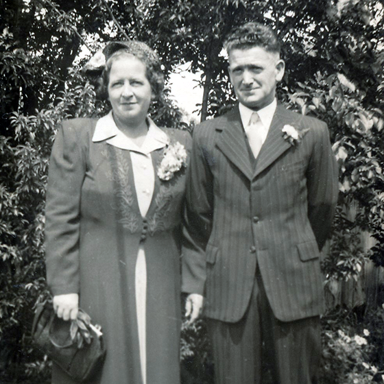 Black & white photo of Doreen & William May