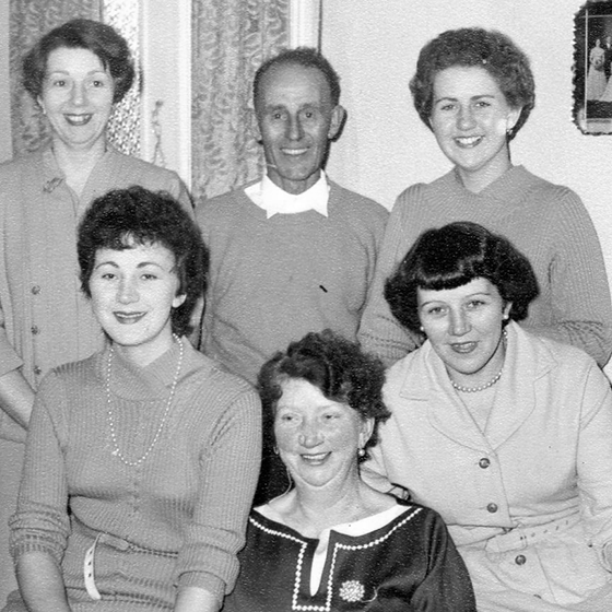 Portrait of Fred & Alice Lima, and daughters Nancy, Shirley, Valerie & Margaret